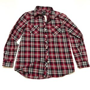 Hot Topic Red Plaid Button Down NWT